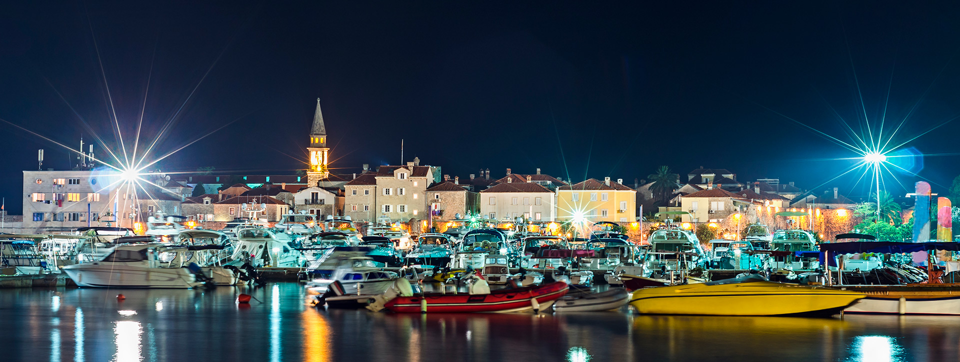 City Marina and promenade at night, Budva, Montenegro