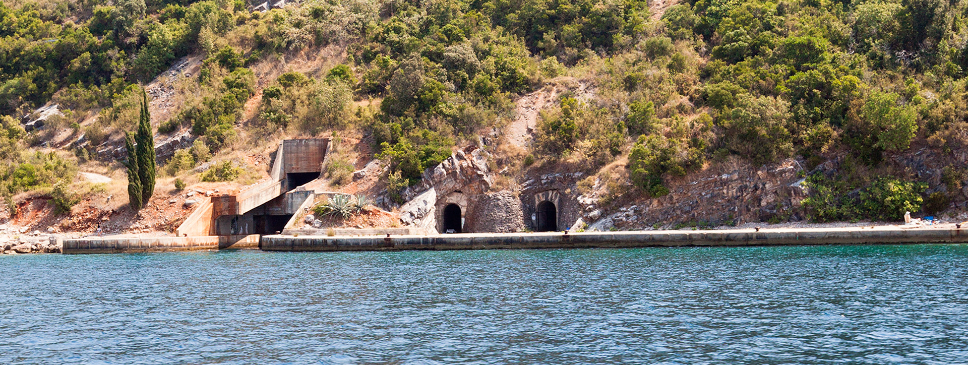 Abandoned tunnels for submarines, opposite Herceg Novi - Montenegrin waters SimpleSail sailing routes