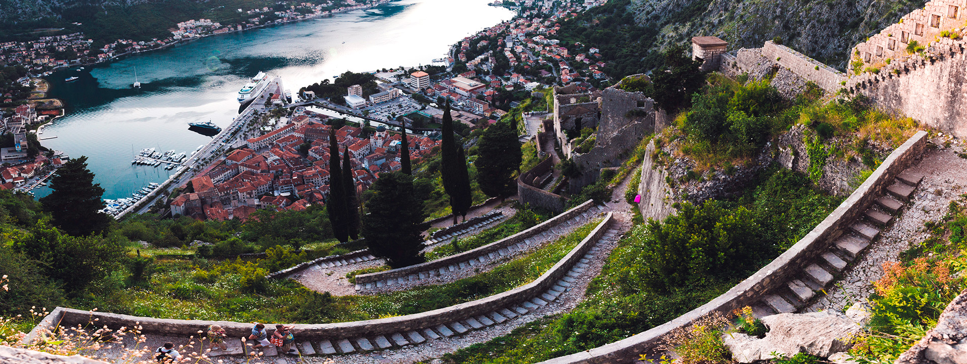 View of the Old town and the Bay of Kotor, Montenegro