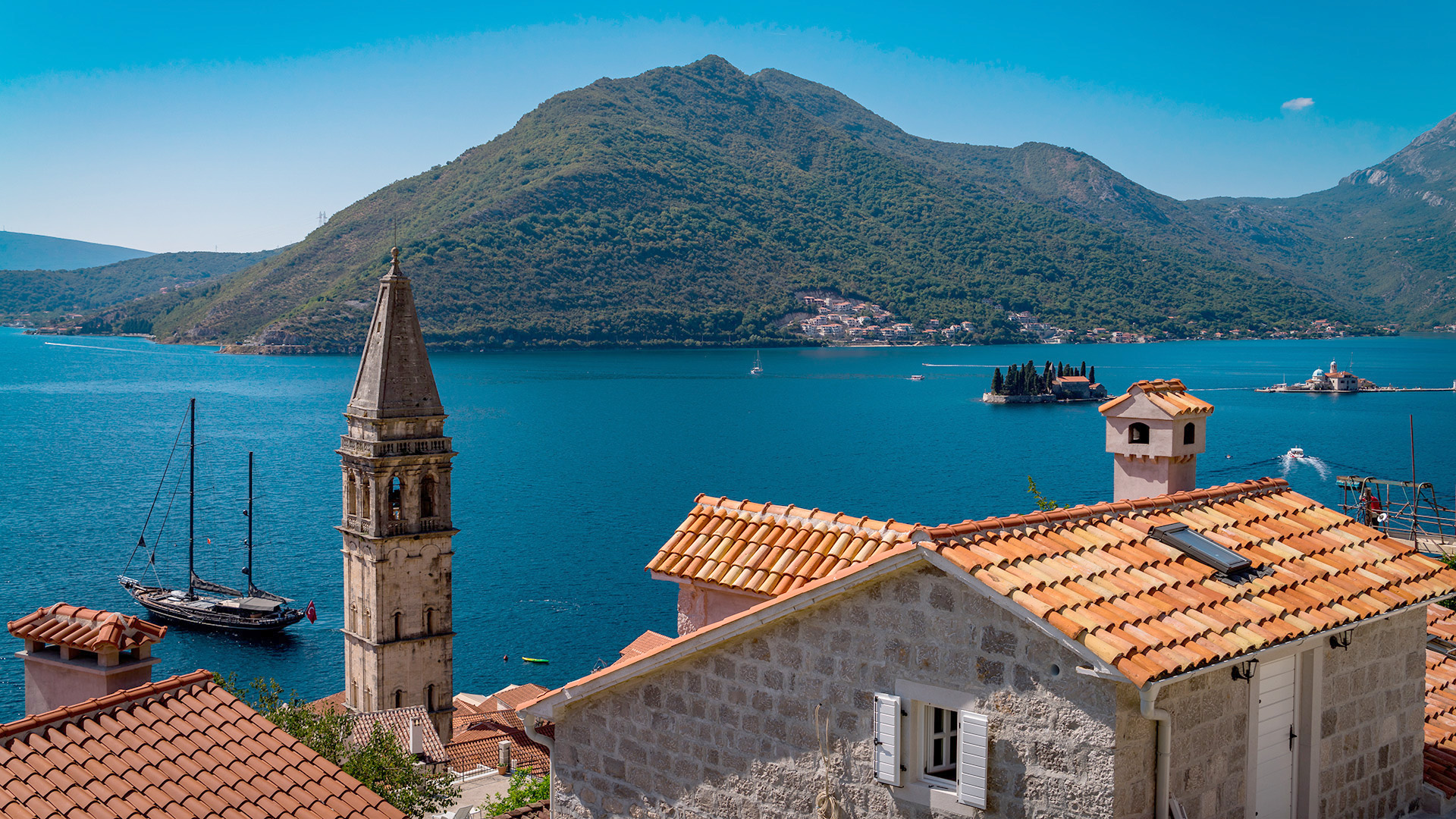 Islands in the Bay of Kotor, Perast, Montenegro