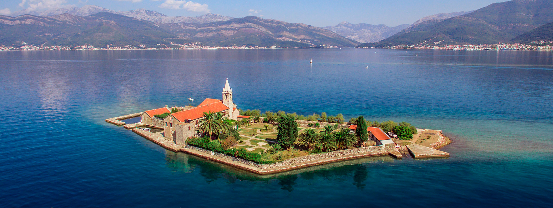 Island of Our Lady of Mercy from a height, Tivat Bay, Montenegro - Adriatic sailing routes of SimpleSai