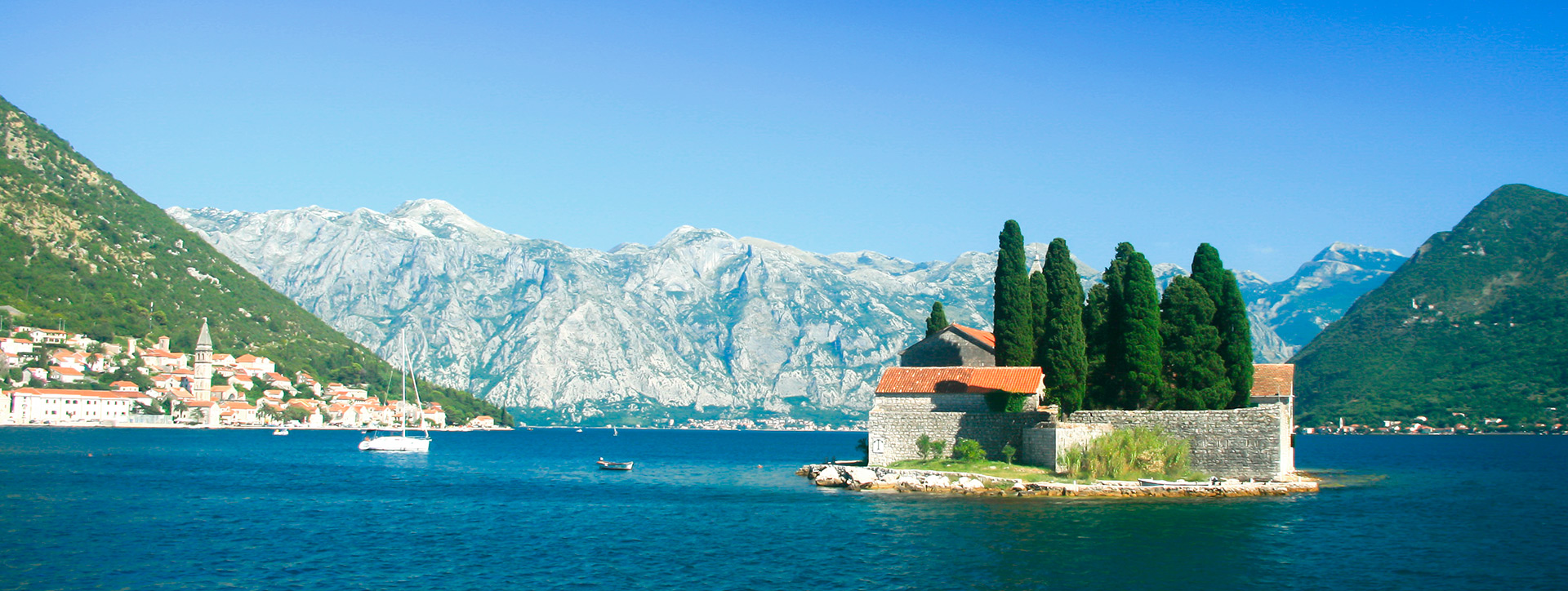 View of the town of Perast from the island of St. George, Montenegro - Adriatic sailing routes of SimpleSail