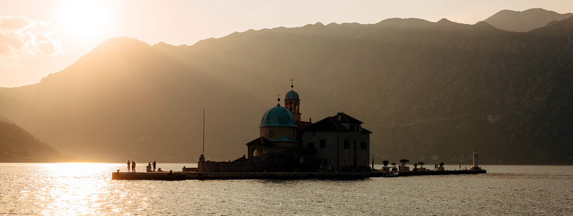 Gospa od Skrpjela - the Island of our lady on the Reef at sunset, in front of Perast, Montenegro - Montenegrin waters SimpleSail sailing routes