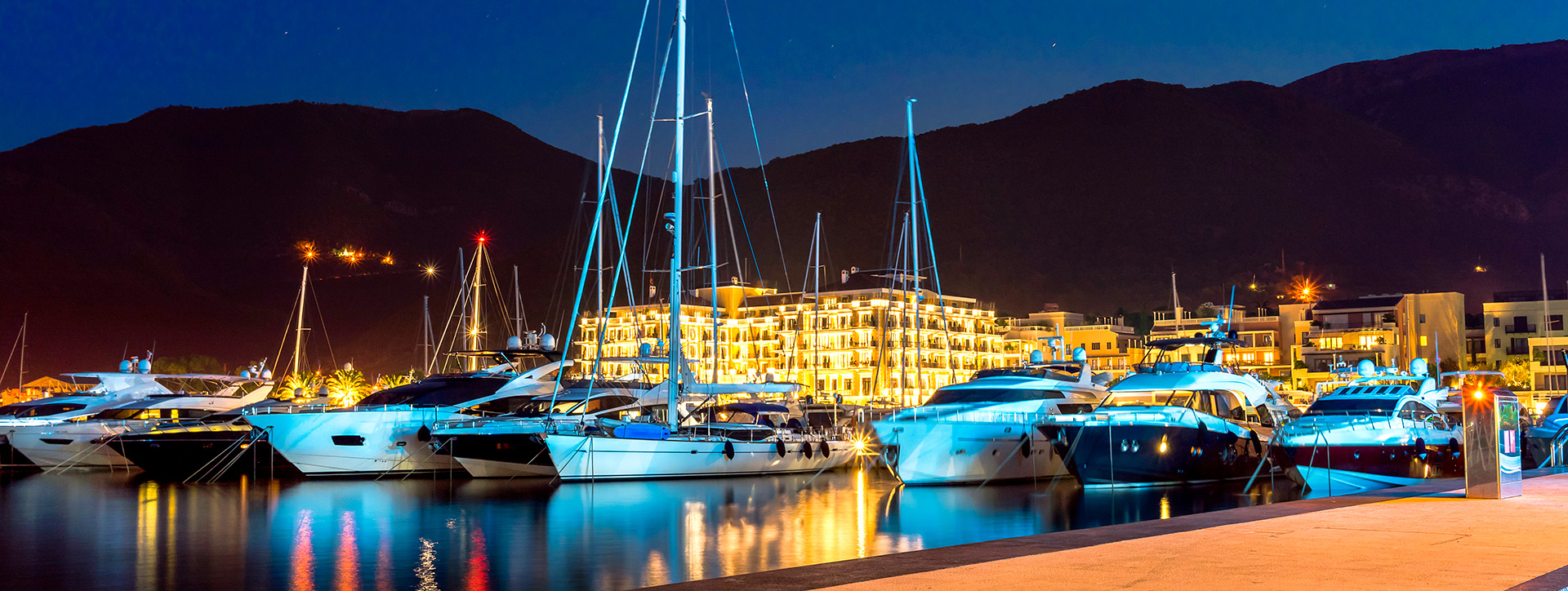 Porto Montenegro at night, Tivat, Montenegro