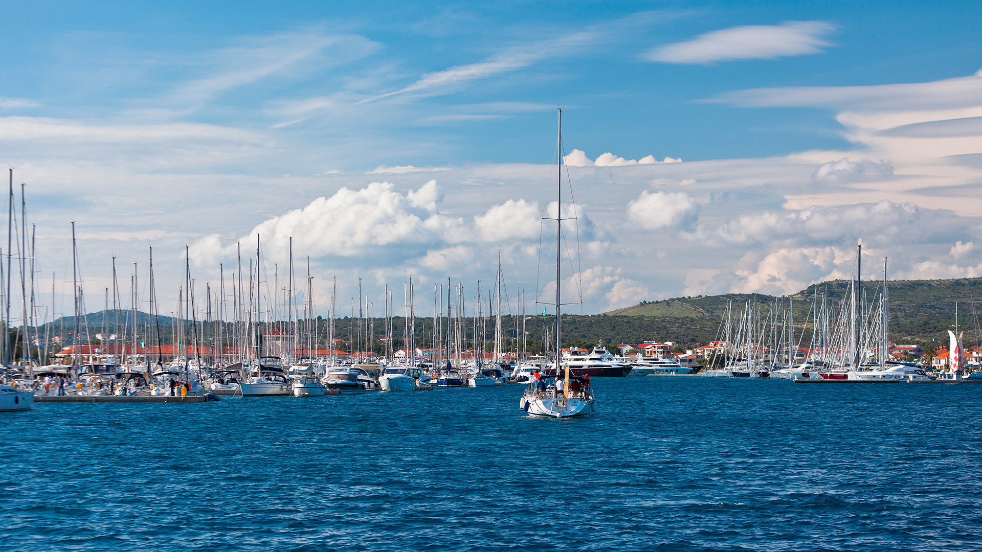 View of the city marina from the sea, Rogoznica, Croatia