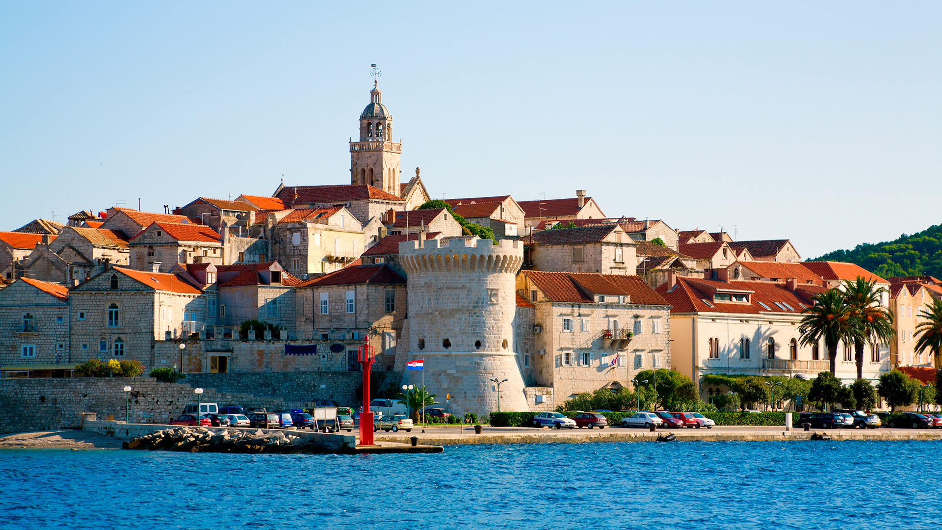St Mark's Cathedral and the fortified walls, Korčula, Croatia - Croatian waters SimpleSail sailing routes