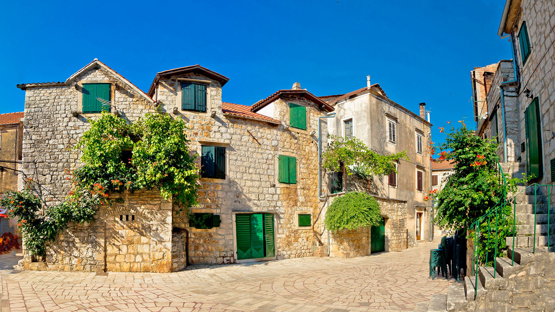 Streets of the Old town of Hvar, Hvar island, Croatia