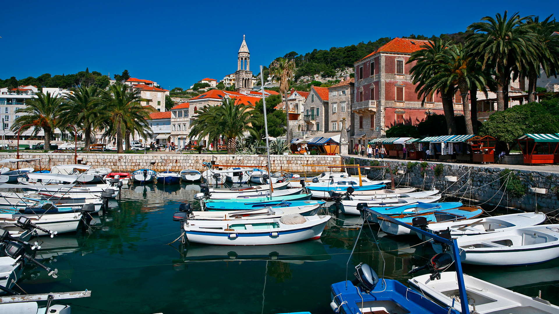 Boats at the waterfront of the Old town of Hvar, Hvar island, Croatia - SimpleSail sailing routes