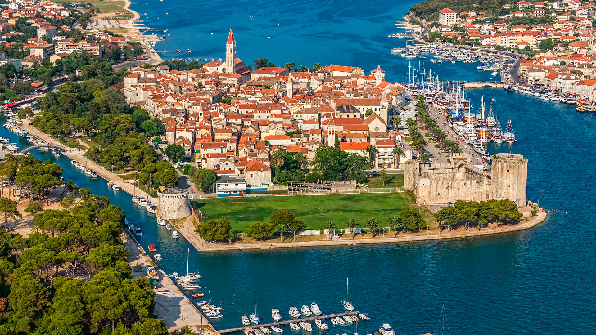 Panorama of the historical part of the city, Trogir, Croatia