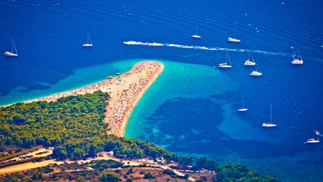 The world-famous Zlatni Rat beach in the resort of Bol, Island Brač, Croatia