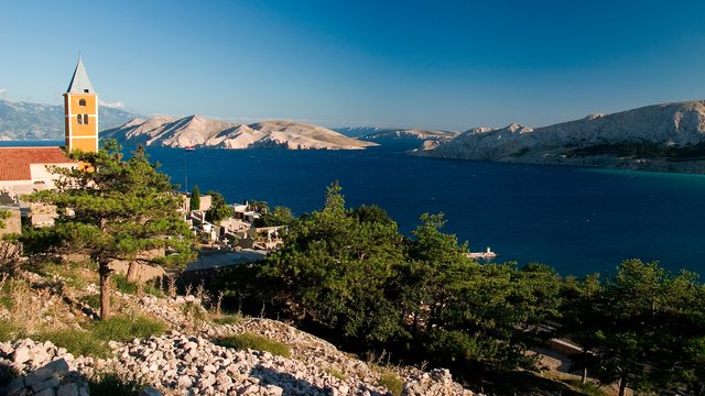 Monastery with the Baptist Church of St. John on the hill near to the town Baška, Krk island, Croatia - Croatian waters SimpleSail sailing routes