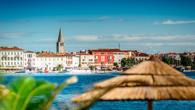 Panorama of the historic part of town, Poreč, Croatia