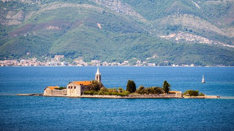 Island of Our Lady of Mercy of Mercy (Gospa od milosrđa) in Tivat Bay, Tivat, Montenegro