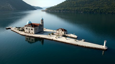 Gospa od Skrpjela is an artificial island of our lady on the Reef, opposite Perast, Montenegro