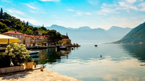 The view on the Kotor Bay, Perast, Montenegro - Adriatic sailing routes of SimpleSail