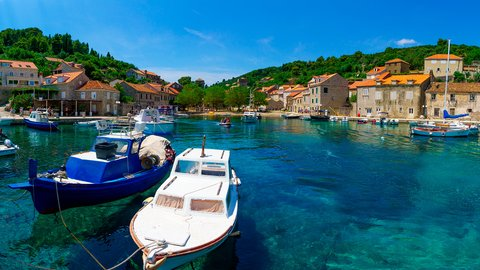 Fishing boats in the port Suđurađ, island Šipan, Croatia