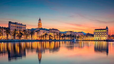 Evening view of the city promenade, Split, Croatia